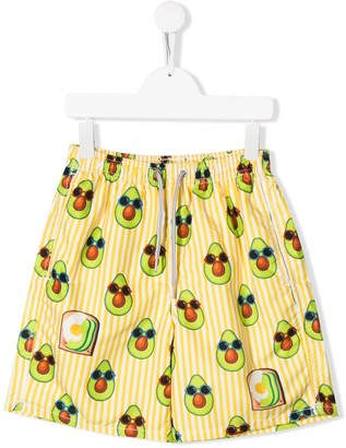 MC2 Saint Barth Kids TEEN avocado print swimming shorts