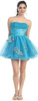 Pleated Tulle Aqua Butterfly Dress