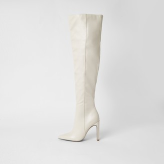 River Island Womens Cream faux leather pull on high leg boots