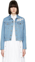 Kenzo Blue Bleached Denim Logo Jacket