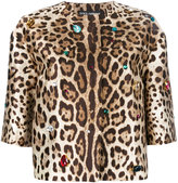 Dolce & Gabbana leopard print jacket - women - Silk/Spandex/Elastane/Crystal/Brass - 40
