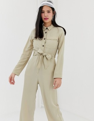 Monki utility boilersuit with oversized pockets in beige