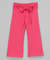 Mulberribush Light Fuchsia Bow Sash Yoga Pants - Toddler & Girls