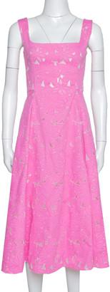 Carolina Herrera Pink Floral Jacquard Sleeveless Flared Dress S