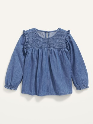 Old Navy Long-Sleeve Smocked Ruffle-Trim Chambray Top for Toddler Girls