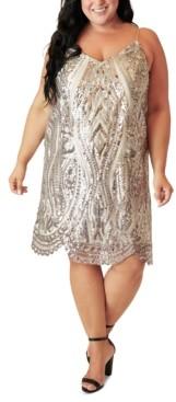 Marée Pour Toi Plus Size Sequined Slip Dress