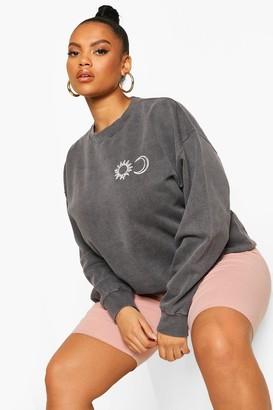 boohoo Plus Sun & Moon Sweatshirt