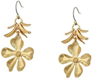 Lucky Brand Floral Petal Drop Earrings (Gold) Earring