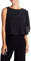 Nicole Miller Solid Beaded Shoulder Drape Silk Blouse