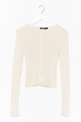 Nasty Gal Womens Don't Back Button-Down Ribbed Knit Cardigan - Oatmeal