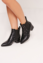 Missguided Studded Elastic Gusset Ankle Boots Black