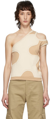 Telfar Khaki and Off-White Patch Asymmetric Tank Top