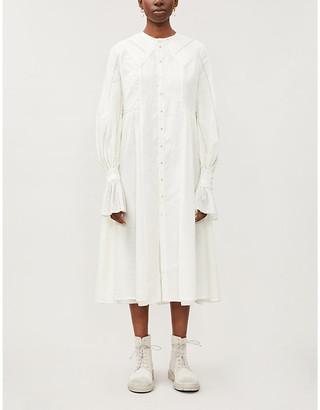 Renli Su Gathered-waistband flared-skirt cotton midi dress