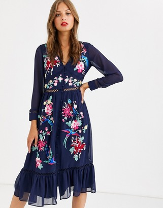 ASOS DESIGN embroidered skater midi dress with lace trims and pephem in navy