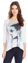 NY Collection Women's 3/4 Sleeve Scoop Neck Dolman Sleeve Graphic Tee