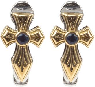 Konstantino Kleos Blue Topaz Cross Huggie Earrings w/ 18k Gold