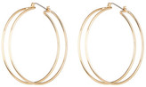 Natasha Accessories Gold-Tone Double Bar Hoop Earrings