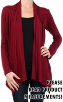 CurvyLuv.com Women's Plus Size Long Sleeve Draped Front Cardigan Open Sweater Casual
