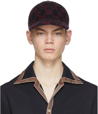Gucci Navy and Red Wool GG Cap