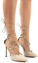 Public Desire Gosh Patent Lace Up Stud Detail High Heels