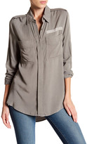 Blu Pepper Pocket Front Button-Down Hi-Lo Blouse