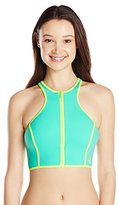 Body Glove Women's Forecast Zip Front Crop Bikini Top