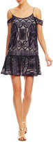 Nicole Miller Embroidered Crinkle Chiffon Dress
