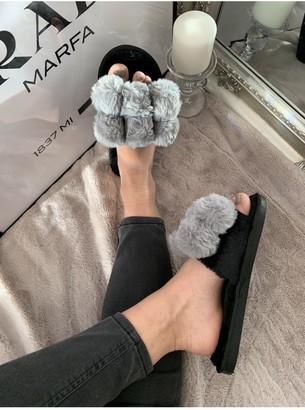 Linzi Grey Faux-Fur Pom-Pom Slider Slippers