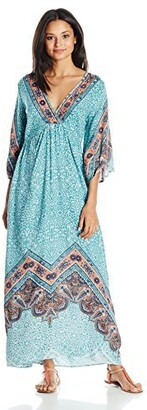 Angie Women's Blue Printed Bell Sleeve Long Dress Large