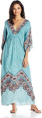 Angie Women's Blue Printed Bell Sleeve Long Dress Medium