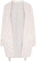 Maje Fringed cotton-blend cardigan