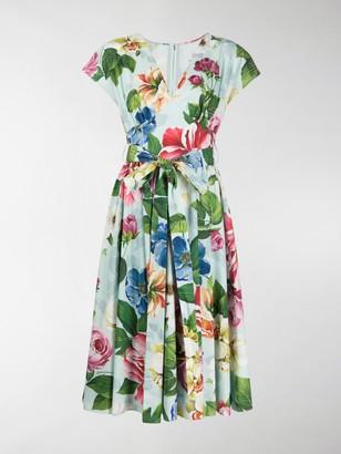 Dolce & Gabbana Belted Floral-Print Dress