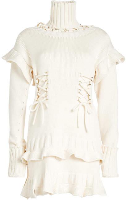 Alexander McQueen Wool Dress with Turtleneck