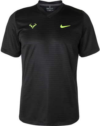 Nike Tennis Rafa Challenger Striped Stretch-Jersey Tennis T-Shirt