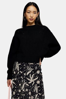 Topshop Womens Black Balloon Sleeve Jumper - Black