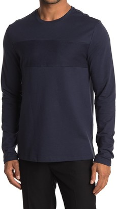 Michael Kors Pieced Panel Crew Neck Long Sleeve Sweater