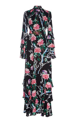 Andrew Gn Tiered Floral-Print Silk Maxi Dress