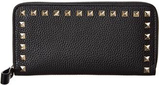 Valentino Rockstud Grainy Leather Zip Around Wallet