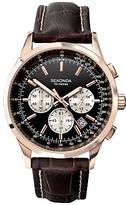 Sekonda 3413.27 Chronograph Leather Strap Watch, Brown/black