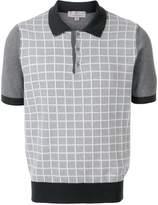 Canali grid knit polo shirt