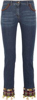 Etro Embellished Embroidered Mid-rise Slim-leg Jeans - Blue