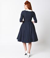 Unique Vintage 1950s Navy & White Dot Sleeved Eva Marie Swing Dress