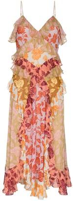 Zimmermann Lovestruck rose print ruffle silk maxi dress