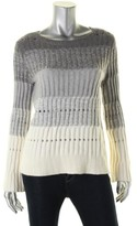 Vince Camuto Womens Ribbed Knit Ombre Crewneck Sweater