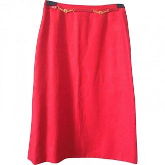Celine Red Linen Skirt for Women Vintage