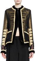 Givenchy Zip-Front Chiffon Jacket, Black/Gold