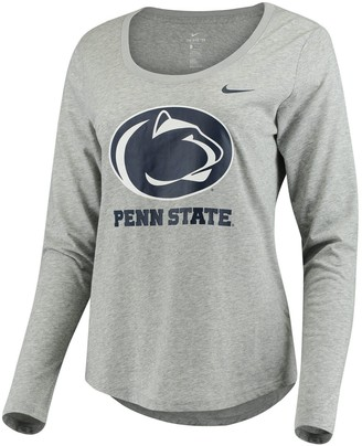 Nike Women's Heathered Gray Penn State Nittany Lions Logo Long Sleeve Tri-Blend T-Shirt