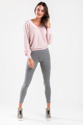 francesca's Dani Side Pocket Leggings - Charcoal