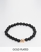 Simon Carter Onyx Beaded Bracelet With Rose Gold Skull