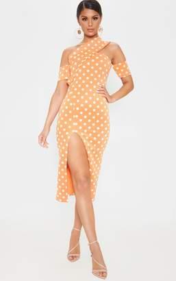 PrettyLittleThing Nude Bardot Drape Detail Split Midi Dress